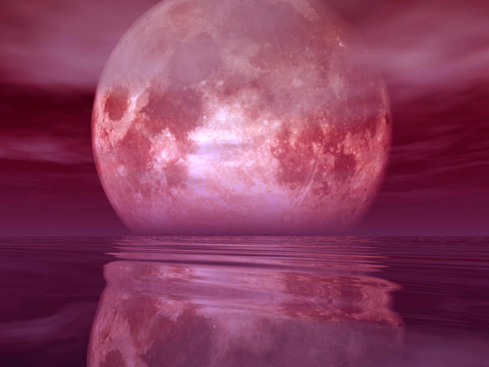 1366x768 red moon ocean - photo #29